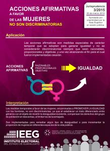 Jurisprudencia 3/2015 ACCIONES AFIRMATIVAS A FAVOR DE LAS MUJERES. NO SON DISCRIMINATORIAS